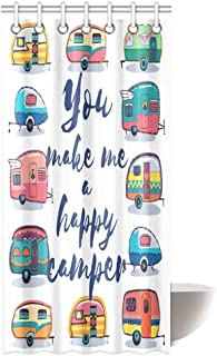 Camper Shower Curtain Set You Make Me Happy Camper Motivational Quote with Caravans Retro Style Travel Graphic Bath Curtain Waterproof Fabric Bathroom Decor with Hooks, 60 X 72 inch