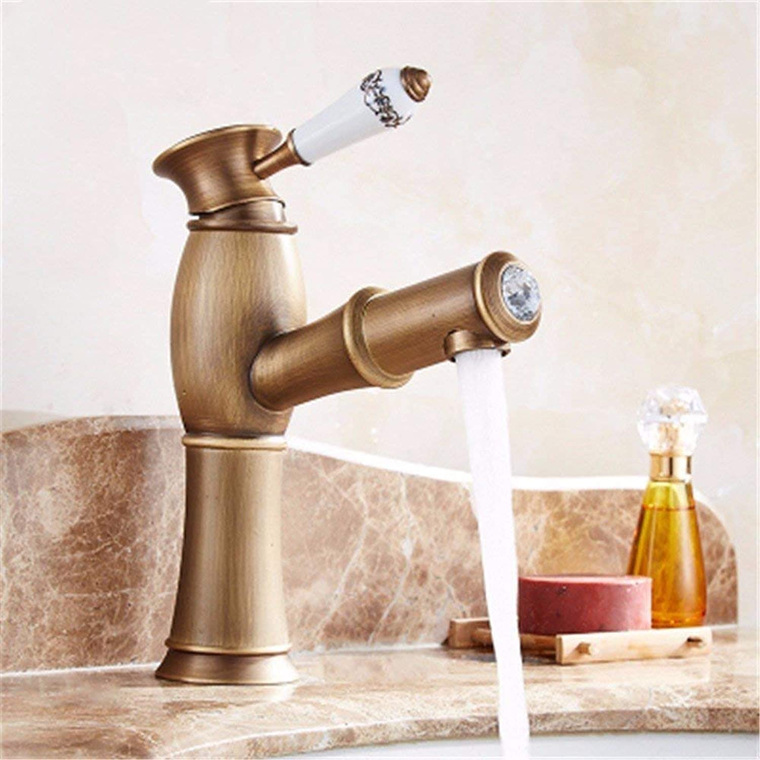 Oudan Faucet Retro Pull Type Copper Faucet, Bronze Retro Above Counter Basin Wash Head Scalable (color   -, Size   -)
