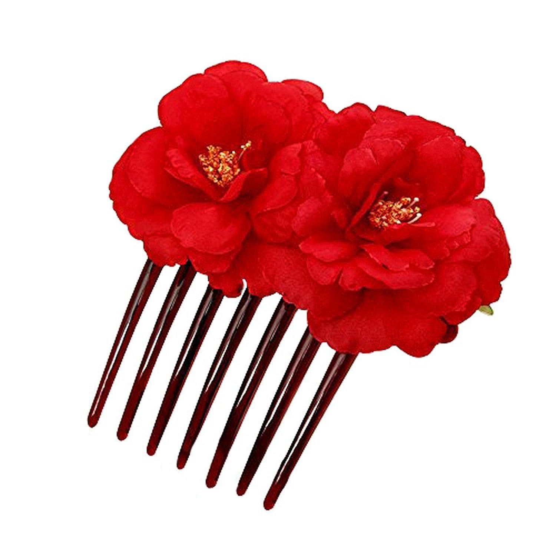 YUKOKOTI 着物髪飾り ツバキ 花 ヘアコーム かんざし 結婚式 成人式 七五三 プレゼント