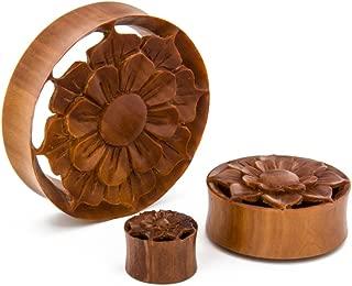 Elementals Organics Saba Wood Hollow Plugs for Ear - Ear Gauge Spring Oasis Flower Design