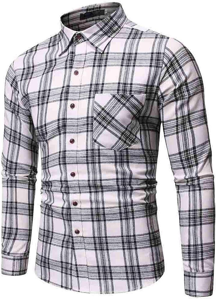 YAYUMI Shirts for Men with Snap Buttons Regular Plaid Long Sleeve Casual Buffalo Plaid Fleece Shirt Pocket top