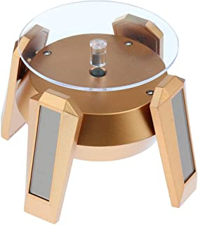 D DOLITY Solar Powered Showcase with LED Light Rotating Jewelry Display Stand Light Turn Table Watch Phone Pendant Ring Bracelet Turntable