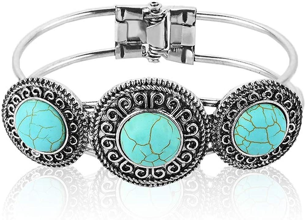 MiniJewelry Vintage Bohemian Turquoise Retro Cuff Bracelets Gift for Women Girls Birthday
