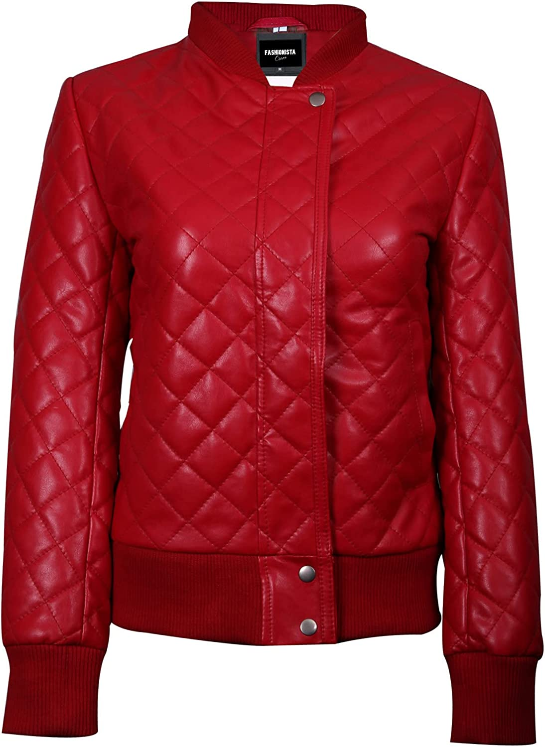 Fashionsta Craze Red Quilted Bomber Leather Jacket for Women -Quilted Leather Jacket