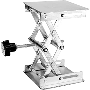 Gaoominy Scientific Lab Jack-100 x 100mm Stainless Steel Lab Stand Table Rack Scissor Lab-Lift Lifter for Science Experiment