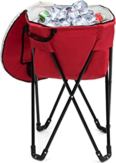 Goplus Portable Ice Cooler Bag, Folding Camping Leakproof Tub Cooler with Stand and Carry Bag, Food-Grade Large Capacity for Outdoor Picnic (Red)