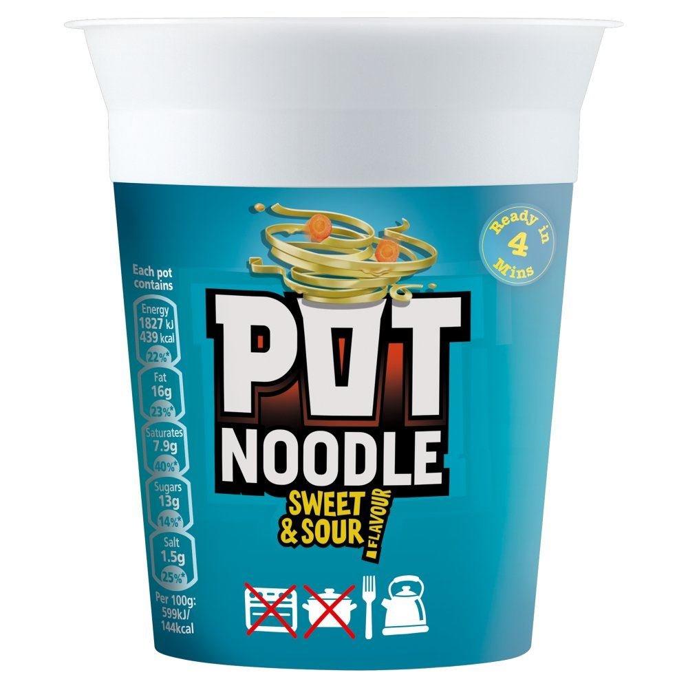 Pot Noodle Sweet & Sour Flavour - 90g - Pack of 4 (90g x 4)