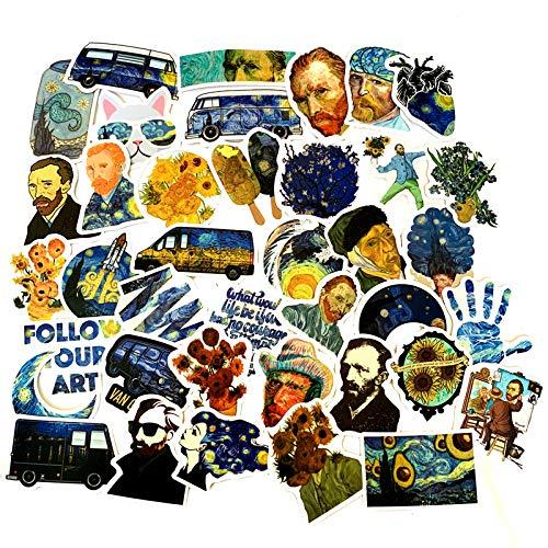 YCYY 50 New World Art Van Gogh Star Air Nombre Etiqueta de Viaje Estuche de Viaje Taza de Agua Cuaderno Etiqueta Impermeable Mate