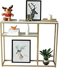 Console Table,2 Tier Marble Storage Shelf Gold Solid Wood Entrance Cabinet Iron Art Living Room Sofa Table 30 × 9 × 30 Inc...