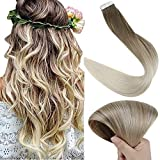 Fshine Balayage Tape In Hair Extensions Human Hair 16 Inch Dip Dyed Real Hair Extensions Double Sided Tape Ins Color 8 Ash Brown Fading To 60 Platinum Blonde 50 Grams 20 Pcs Glue In Hair