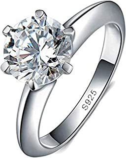 Naomi Women Fashion Jewelry Solitaire 1.5ct Cz Diamond Ring 925 Sterling Silver Engagement Wedding Band Ring for Women RW1...