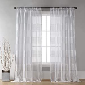 Home Maison - Lettie Wide Semi-Sheer Faux Linen Cabana Stripe Pole Top Window Curtains for Living Room & Bedroom - Assorted Colors - Set of 2 Panels (54 X 96 Inch - White)