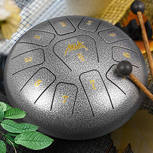 Steel Tongue Drum, AKLOT 10 inch 11 Notes Tank Drum C Key Percussion Steel Drum Kit w/Drum Mallets Note Stickers Finger Picks Mallet Bracket and Gig Bag