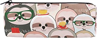 ALAZA Funny Lovely Cartoon Sloth Barrel Cotton Pencil Pen Bag Pouch Case Holder School Supplies for Student Teens