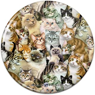 Plethora of Cats and Kittens Pattern Compact Pocket Purse Hand Cosmetic Makeup Mirror - 3