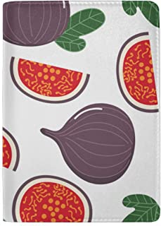 Figs And Fig Leaves Light Purple Blocking Print Passport Holder Cover Case Travel Luggage Passport Wallet Card Holder Made With Leather For Men Women Kids Family