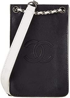 CHANEL Black & White Calfskin 'CC' Shoulder Bag (Pre-Owned)