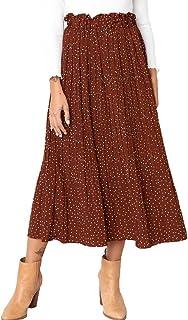 Exlura Womens High Waist Polka Dot Pleated Skirt Midi Maxi Swing Skirt with Pockets