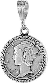 Sterling Silver Dime Bezel 18 mm Coins Prong Back Illusion Edge 10 cent