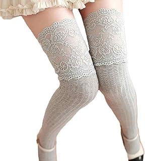 SHOBDW Mujer Chica Invierno Sobre la rodilla Calentador de la pierna Calcetines de encaje de algodón suave sólido Leggin Fun Funky Novedad Día de San Valentín para damas