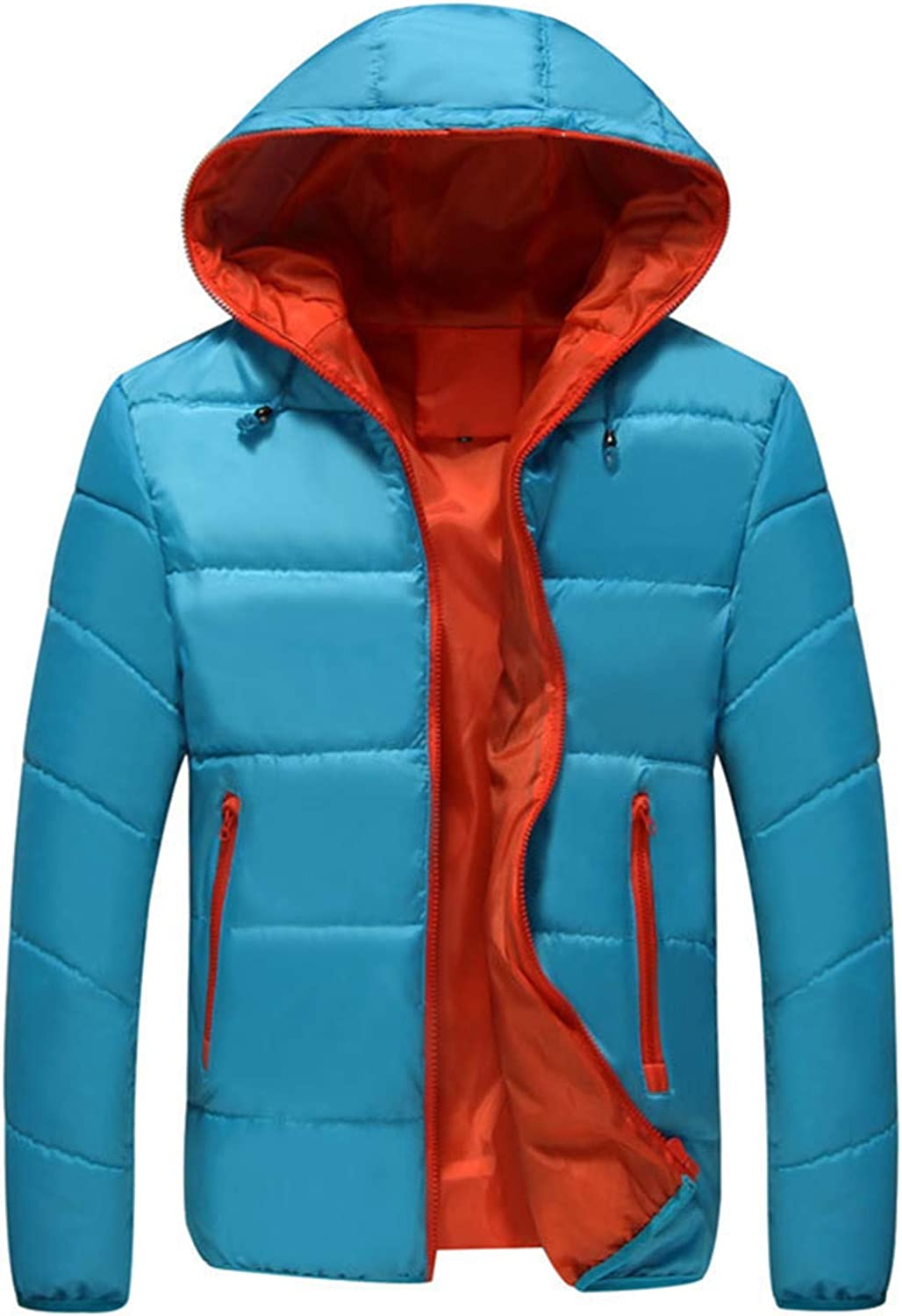Men's Winter Jacket,Thicken Quilted Hooded Padded Down Alternative Puffer Coat Outerwear Overcoat (Sky Blue,Large)