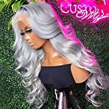 Grey Human Hair Wig For Women 613 Blonde Lace Front Wig Body Wave Transparent Lace Front Wigs Human Hair Pre Plucked 150% Density Colored T Part Lace Wig(20inch)