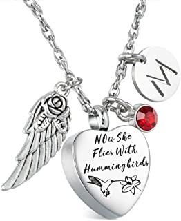 Glimkis Hummingbirds Urn Necklace for Ashes Now She Flies with Hummingbirds Memorial Necklace Cremation Jewelry