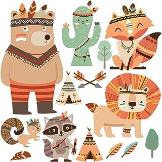 Färgglada indianer MEGA SET – barnrumsdekoration: väggklistermärke, väggklistermärke djur: Räv, björn, indianer – lämplig ...