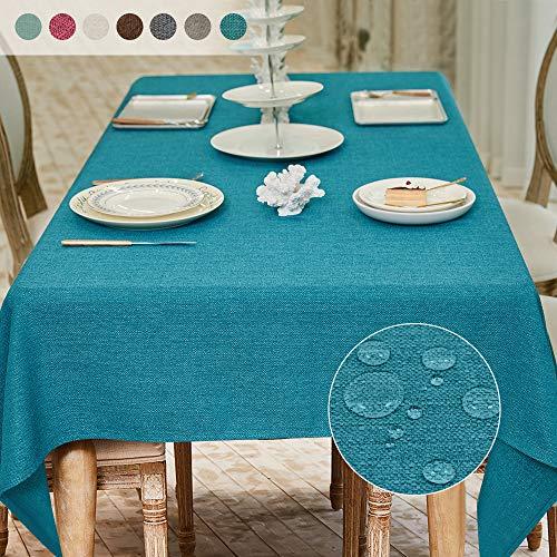 Balcony&Falcon Tischdecke Leinenoptik Tischtuch Leinen Tischdecke Pflegeleicht Farbe und Große Wählbar Eckig Wasserdicht Tischdecke Blau, 120 x 160 cm