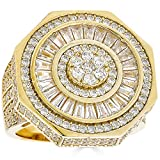Real Solid 925 Sterling Silver Men's Ring - 14k Yellow Gold Finish - Large 25mm Octagonal Iced Baguette Diamond Ring - Anillo Para Hombre (8)