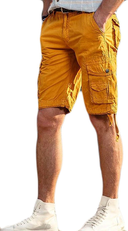 571d94a696 Pivaconis Mens Big Big Big and Tall Outdoor Multi Pocket Casual Solid  Summer Cargo Shorts 7a1536