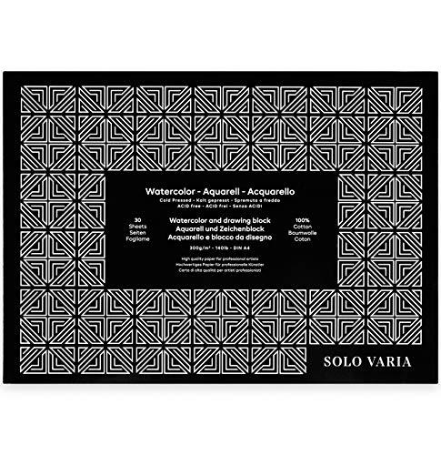 Solo Varia Aquarellblock A4 aus 100{bb59bc19cc3e7d648cf18200e2bc51c7a04b4e565730ba082a35429420c7c6fa} Baumwolle mit 30 Blatt - 300g/m² - kaltgepresst - Acid frei - säurefrei - geleimt - Aquarellpapier - Zeichenpapier