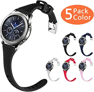 Gear S3 Bands, Silicone Watch Bands Women Extremely Narrow Rubber Watch Strap Quick Release Replacement Wristband Metal Clasp Samsung Gear s3 Frontier/s3 Classic Smart Watch (5 Pack, 22mm)