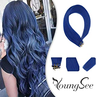 Youngsee Remy Colored Tape in Hair Extensions Blue Human Hair 10pcs/25g Skin Weft Silky Straight Tape in Colorful Hair Extensions For Fashion Women With Salon Quality 16inch