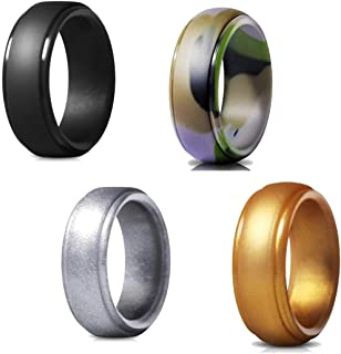 ALBASAR Silicone Ring for Men - 4 Packs - Wedding and Engagement Ring, Gym,Workout and Sport Band, Soft and Safe Rubber Ri...