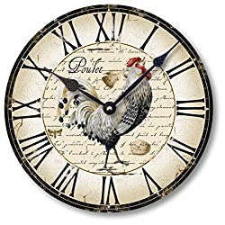 Fairy Freckles Studios Item C5006 Vintage Style Country French Chicken Clock (10.5 Inch Diameter)