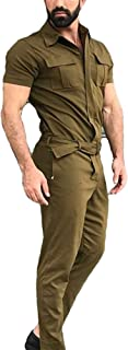 Mens Jumpsuit Casual One Piece Jumpsuit Short Sleeve Summer Casual Sporty Fashion Mens Romper Coverall Jumpsuit