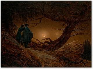 Two Men Contemplating The Moon by Caspar David Friedrich, 18x24-Inch Canvas Wall Art