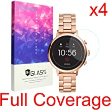 for Fossil Q Venture HR Screen Protector, Lamshaw 2.5D Rounded Edges 9H Tempered Glass Screen Protector for GEN 4 SMARTWATCH - Q Venture HR (4 Pack)