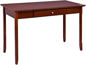 Wood Entryway Console Writing Desk with One Drawer Traditional Style Antique Walnut Finish