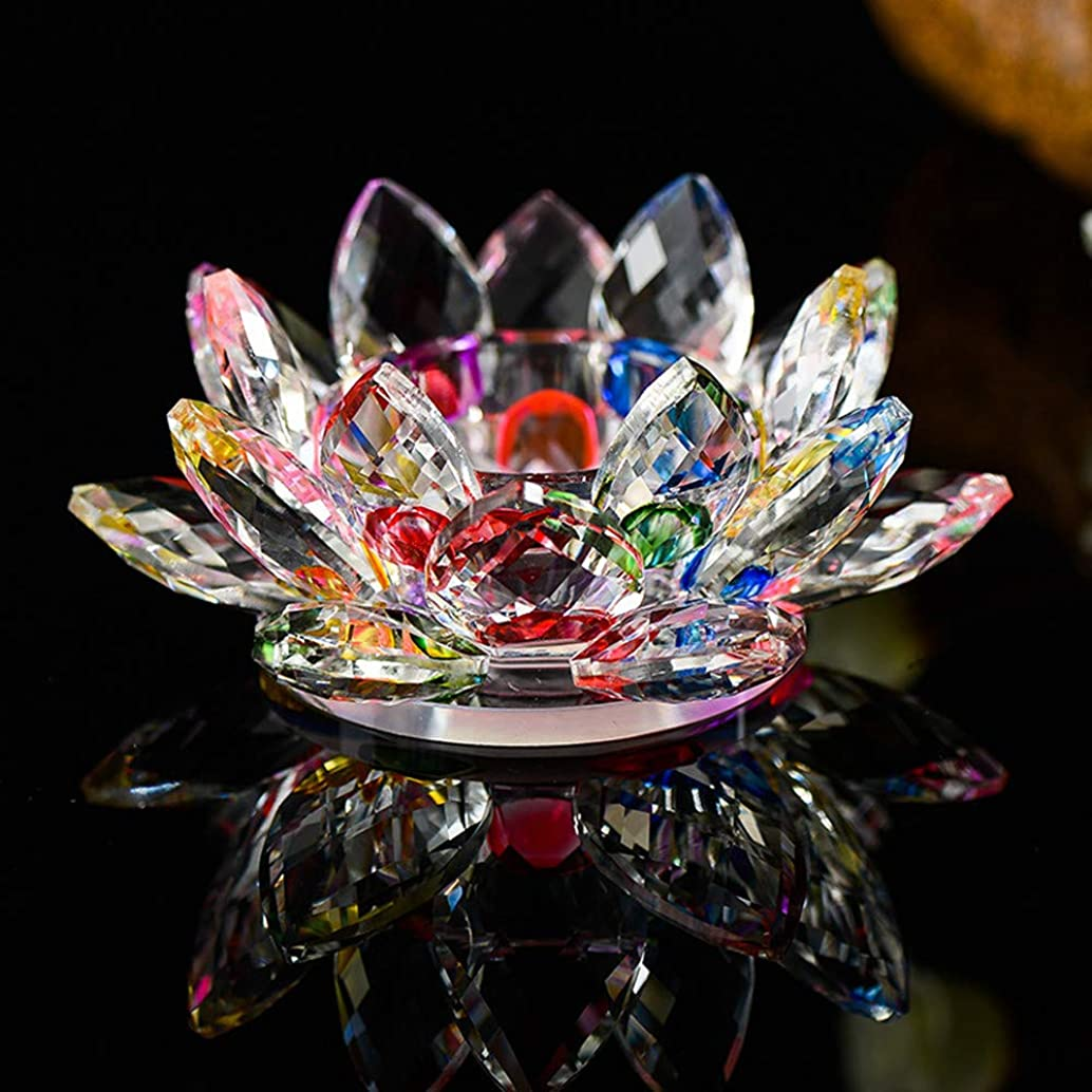 CosyHome-US Candlestick/7 Colors Crystal Glass Lotus Flower Candle Tea Light Holder Bud^dhist Candlestick/multicolor/4X2x0.8 inches