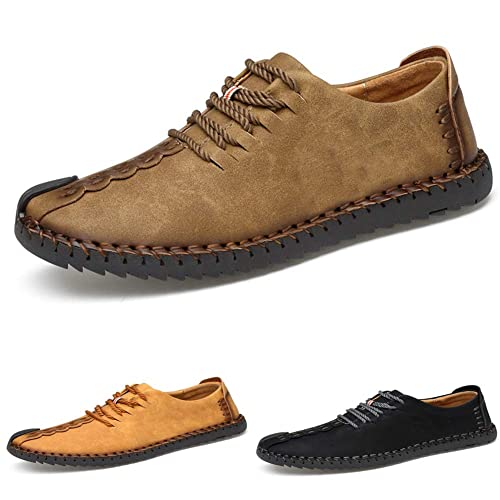 Mens Suede Casual Shoes Leather Oxford Shoes British Style Handmade Lace up Loafers Flats Sneakers Black