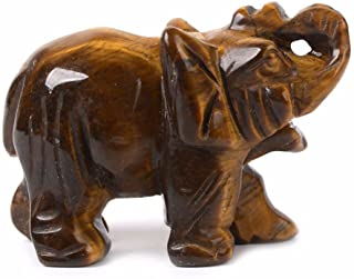 (Golden Tiger Eye) - Carved Natural Golden Tiger's Eye Gemstone Elephant Healing Guardian Statue Figurine Crafts 5.1cm