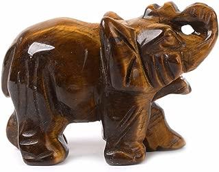 Carved Natural Golden Tiger's Eye Gemstone Elephant Healing Guardian Statue Figurine Crafts 2 inch