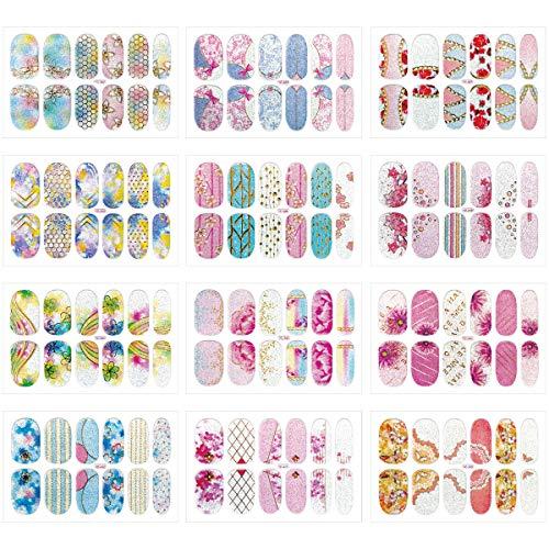 MWOOT Nagel Sticker (12 Blatt), DIY Nagelkunst Nageldesign Nagelaufkleber, Selbstklebende Nagelsticker Schnell&Einfach Maniküre, Nagel Kunst Nagelfolie - Flowers Styles