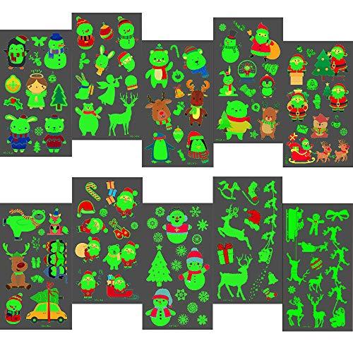 Qpout 121Pcs Weihnachten Leuchtende Tattoo Aufkleber für Kinder, Weihnachten Im Dunkeln Leuchten Temporäre Tattoos Wasserdichte Cartoon Tätowierung Kindergeburtstag Spielen Geschenk Weihnachten Deko
