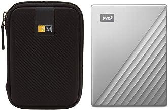 WD 4TB My Passport for Mac USB 3.0 Slim Portable External Hard Drive (Silver) + Compact Hard Drive Case (Black) (4TB, Silver)