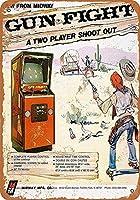 ガンファイトビデオゲーム。インチティンサインヴィンテージアイアンペインティングメタルプレートノベルティデコレーションクラブカフェバー。