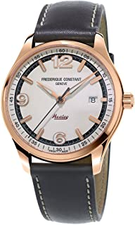 Frederique Constant Men's 'Vintage Rally' Swiss Automatic Gold and Leather Dress Watch, Color:Dark Grey (Model: FC-303WGH5B4)
