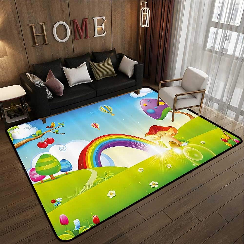 Bedroom Rugs,Cartoon,Mushroom Homes Spring Sunbeams Garden Rainbow Clouds Clear Sky Kids Nursey Artwork,Multicolor 55 x 63  Kitchen Doormat
